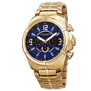 Akribos XXIV Men's Swiss Quartz Multifunction Dual Time Tachymeter Gold-Tone Bracelet Watch