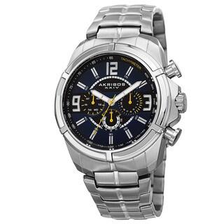 Akribos XXIV Men's Swiss Quartz Multifunction Dual Time Tachymeter Silver-Tone Bracelet Watch