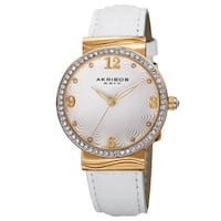 Akribos XXIV Women's Quartz Swarovski Crystals White Strap Watch