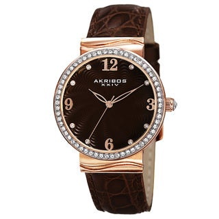 Akribos XXIV Women's Quartz Swarovski Crystals Rose-Tone Strap Watch
