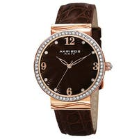 Akribos XXIV Women's Quartz Swarovski Crystals Rose-Tone Strap Watch - brown