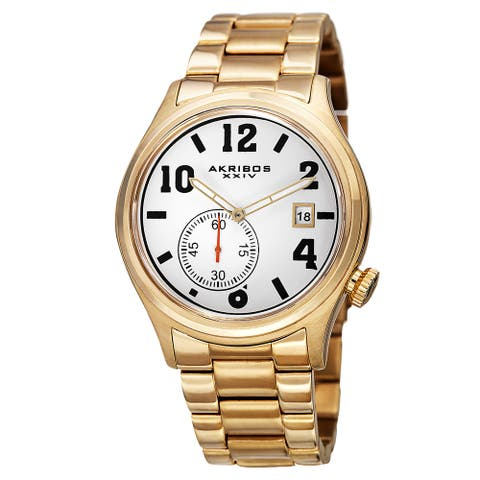 Akribos XXIV Men's Quartz Multifunction Stainless Steel Gold-Tone Bracelet Watch - Gold