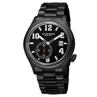 Akribos XXIV Men's Quartz Multifunction Stainless Steel Black Bracelet Watch