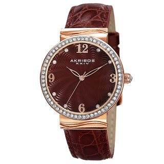 Akribos XXIV Women's Quartz Swarovski Crystal Elements Red Strap Watch with FREE GIFT