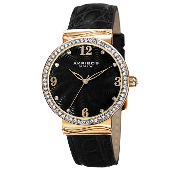 Akribos XXIV Women's Quartz Swarovski Crystals Black Strap Watch - Gold