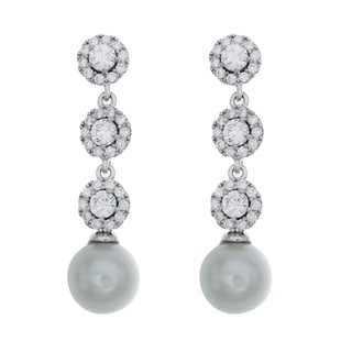 Sterling Essentials Rhodium Plated Silver Dangle CZ and Faux Pearl Earrings
