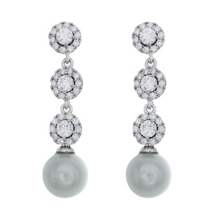 Rhodium Plated Sterling Silver Dangle CZ and Faux Pearl Earrings