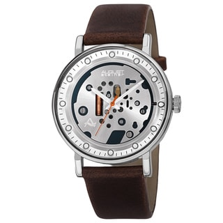 August Steiner Men's Quartz Imitated Skeleton Dial Leather Silver-Tone Strap Watch