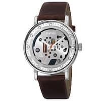 August Steiner Men's Quartz Imitated Skeleton Dial Leather Silver-Tone Strap Watch