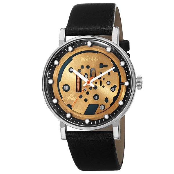 August Steiner Men's Quartz Imitated Skeleton Dial Leather Silver-Tone Strap Watch - Black