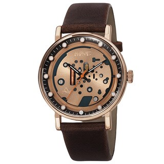 August Steiner Men's Quartz Imitated Skeleton Dial Leather Rose-Tone Strap Watch