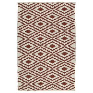 Indoor/Outdoor Laguna Ivory and Brick Ikat Flat-Weave Rug (5' x 7'6)