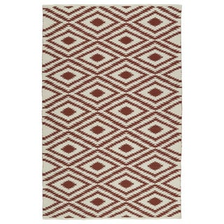 Indoor/Outdoor Laguna Ivory and Brick Ikat Flat-Weave Rug (3' x 5')