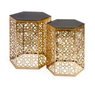 Nikki Chu Lancaster Gold Mirror Table (Set of 2)