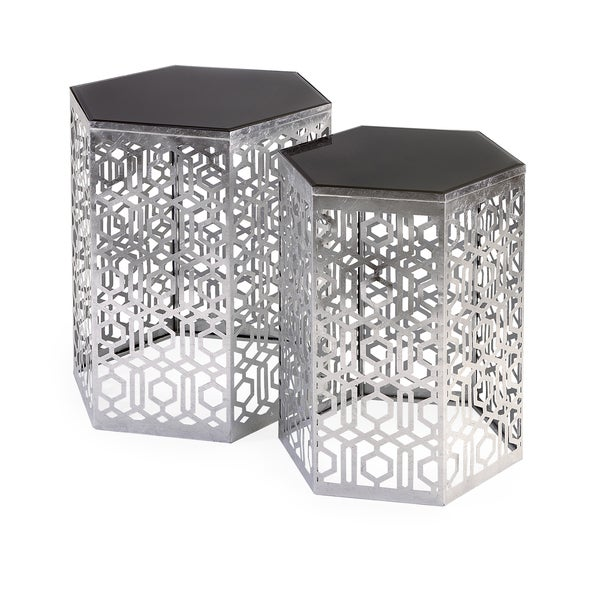 Nikki Chu Lancaster Silver Mirror Table (Set of 2)