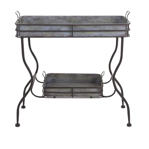 Maggie galvanized tray table free shipping today for Table exterieur galvanise