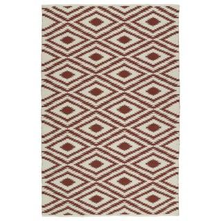 Indoor/Outdoor Laguna Ivory and Brick Ikat Flat-Weave Rug - 2' x 3'