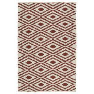 Indoor/Outdoor Laguna Ivory and Brick Ikat Flat-Weave Rug (2' x 3')