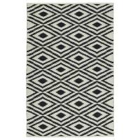 Indoor/Outdoor Laguna Ivory and Black Ikat Flat-Weave Rug - 5' x 7'6""