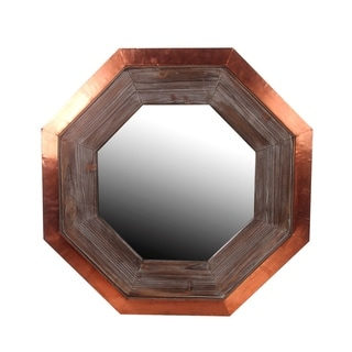 Privilege Hexagon Wood And Cooper Wall Mirror