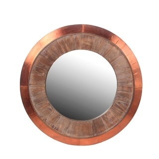 Privilege Round Wood And Cooper Wall Mirror