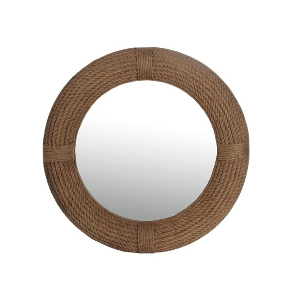 shop privilege beveled round rope mirror free shipping today 17315236. Black Bedroom Furniture Sets. Home Design Ideas
