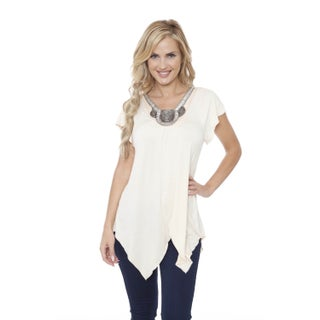White Mark Women's Fenella Rayon/Spandex Embellished-neck Top (Option: Beige - S)