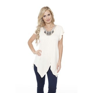 White Mark Women's 'Fenella' Embellished Neck Top