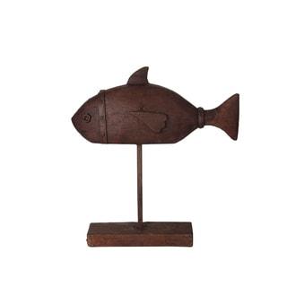 Privilege Brown Large Ceramic Fish Table Decor