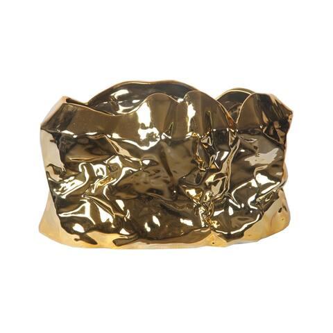Privilege Brass Metallic Large Ceramic Bowl