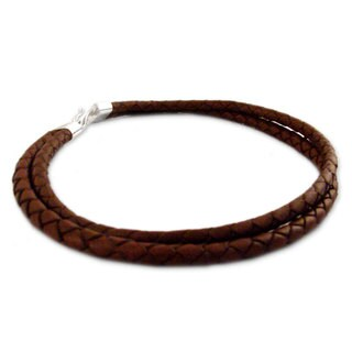 Handmade Sterling Silver Leather 'Classic Brown' Necklace (Peru)