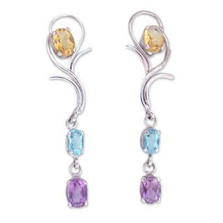 Sterling Silver 'Spring Princess' Multi-gemstone Earrings (India)