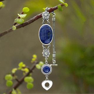 Sterling Silver 'Blue Bouquet' Sodalite Bracelet (Peru)