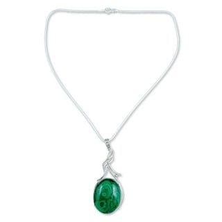 Handcrafted Sterling Silver 'Love Lyrics' Malachite Necklace (India)