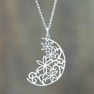 Handmade Silver 'Crescent Moon Bouquet' Necklace (Peru)