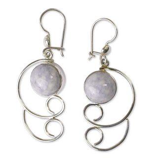 Handmade Sterling Silver 'Maya Treasure' Jade Earrings (Guatemala)
