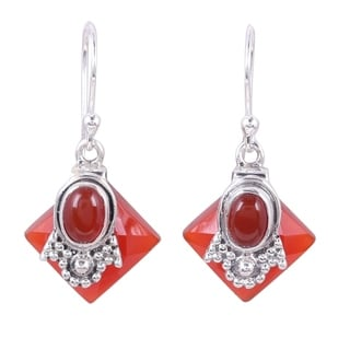 Handcrafted Sterling Silver 'Delhi Sunset' Carnelian Earrings (India)