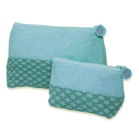 Handmade Set of 2 Cotton 'Spring Blooms' Cosmetic Bags (Guatemala)