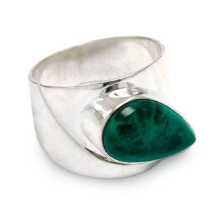Handcrafted Sterling Silver 'Huacho Heritage' Chrysocolla Ring (Peru)