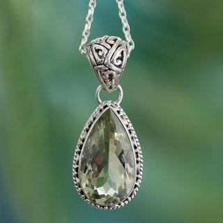 Verdant Mist 18 Carat Green Teardrop Prasiolite Quartz Set in 925 Sterling Silver Ornate Bail Womens Pendant Necklace (India)