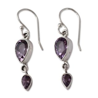 Handmade Sterling Silver 'Violet Distinction' Amethyst Earrings (India)
