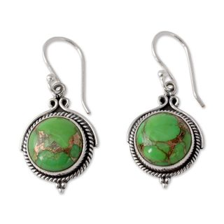 Round Green Reconstitued Turquoise Gemstone 925 Sterling Silver Cable Bezel Bohemian Womens Dangle Earrings (India)