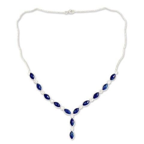 Handmade Sterling Silver 'Ocean Dreamer' Lapis Lazuli Zirconia Necklace (India)