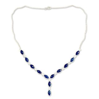 Sterling Silver 'Ocean Dreamer' Lapis Lazuli Zirconia Necklace (India)