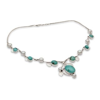 Handmade Sterling Silver Dew Blossom Turquoise Pearl Cable Style Necklace (6 mm) (India)