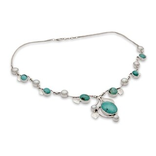 Handmade Sterling Silver Dew Blossom Turquoise Pearl Cable Style Necklace (6 mm) (India) https://ak1.ostkcdn.com/images/products/10190702/P17315947.jpg?_ostk_perf_=percv&impolicy=medium