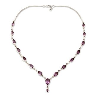 Handcrafted Sterling Silver Precious Tears Purple Amethyst Cable Style Necklace (India)