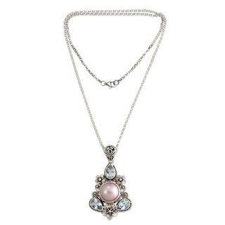 Handmade Silver 'Frangipani Trio' Pearl Topaz Necklace (12mm) (Indonesia)