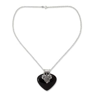 Handcrafted Sterling Silver 'Love Declared' Onyx Necklace (India)