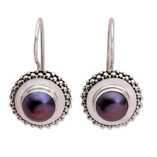 Handmade Sterling Silver Lilac Moon Halo Pearl Earrings 7 5mm Indonesia